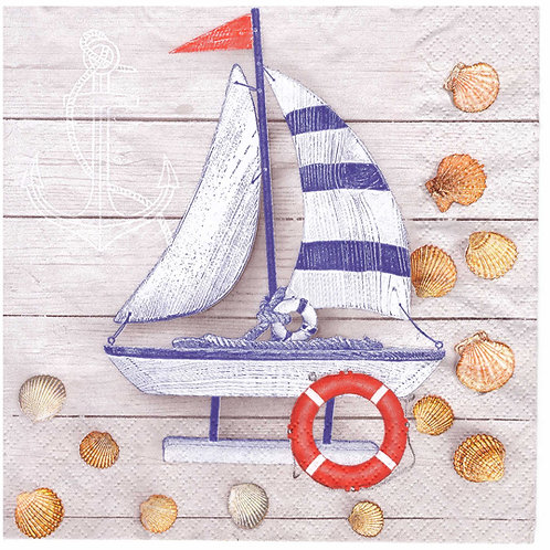 Napkins N1000 Lunch size 33x33cm Sea, yacht, seashell, planks