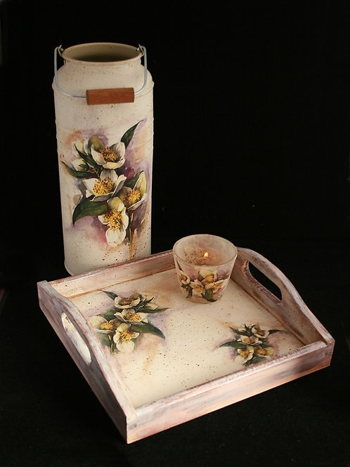 Mock orange  - square tray and small milk churn set