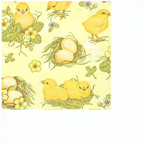 Napkins C072 cocktail size 25x25cm Chicken and eggs