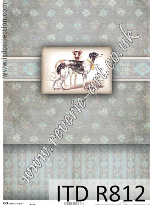 A4 rice paper for decoupage R812 - Vintage box, dogs