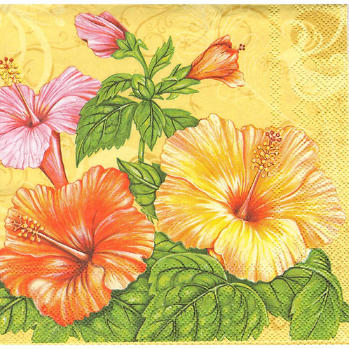 Napkins N1105 Lunch size 33x33cm Flowers hibiscus