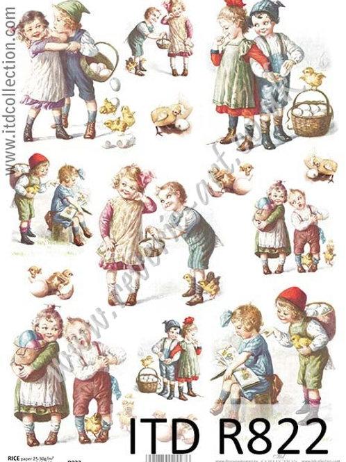 A4 rice paper R822 Vintage Easter Kids