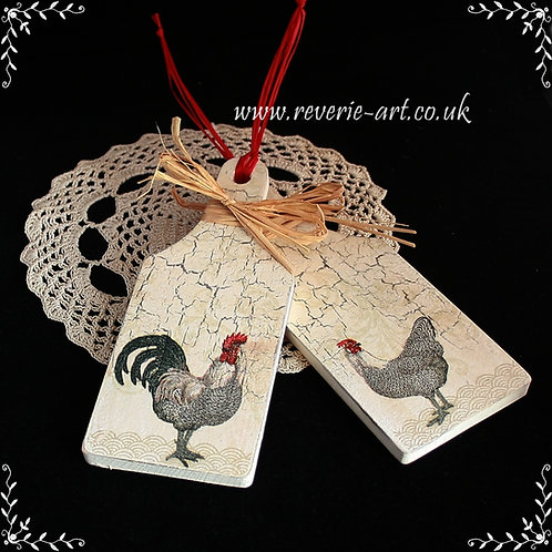 SOLD Rooster and hen - set of 2 mini chopping boards