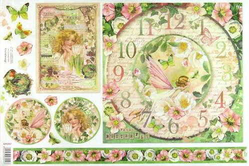 Stamperia Rice paper 48x33 - Spring fairy clock