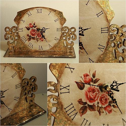 Vintage roses - freestanding gilded clock