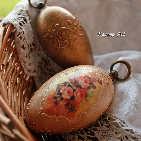 Vintage roses 2 - hand decorated  goose egg with metal hook