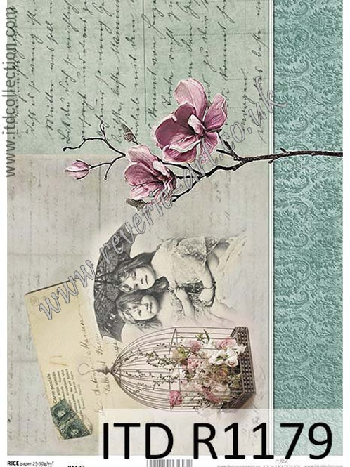 A4 rice paper R1179 Vintage flowers and kids