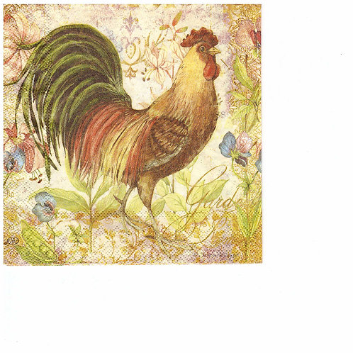 Cocktail napkins for decoupage 25x25cm Rooster