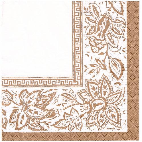 Napkins N1164 Lunch size 33x33cm Gold floral corner pattern