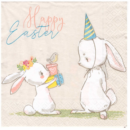 Napkins N934 Lunch size 33x33cm Happy Easter Bunnies