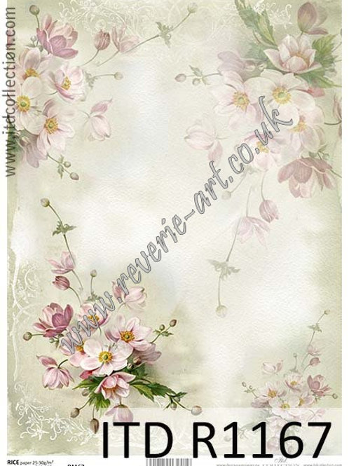 A4 rice paper R1167 Vintage spring flowers