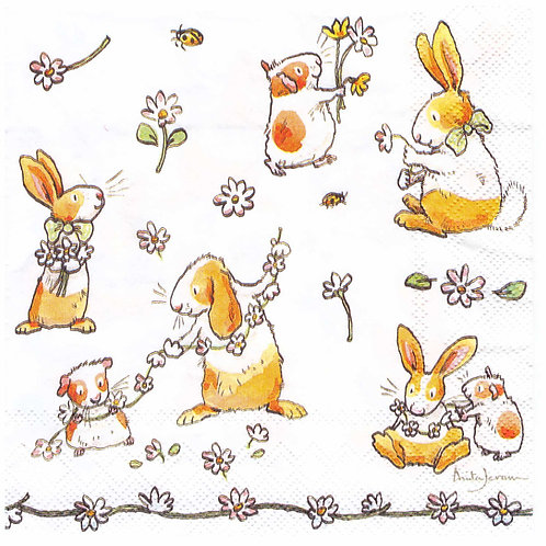 Napkins N936 Lunch size 33x33cm Animals  Daisy chain