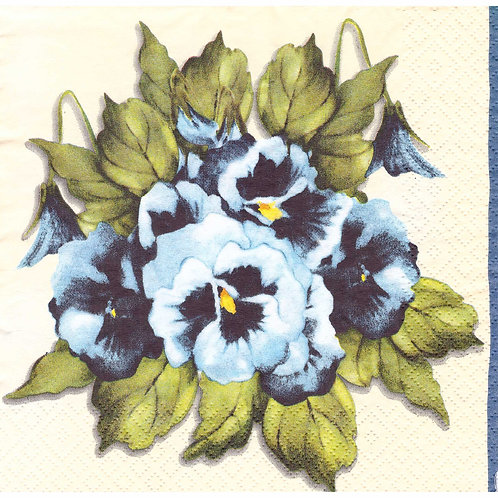 Napkins N1082 Lunch size 33x33cm Flowers blue pansies