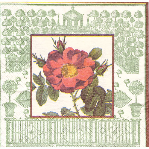 Napkins N1131 Lunch size 33x33cm Flowers wild rose