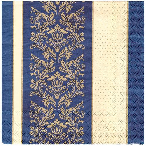 Napkins N1156 Lunch size 33x33cm Blue ornate flowers striped pattern