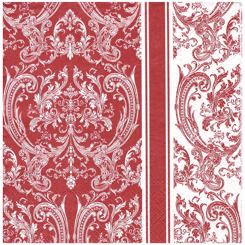 Napkins N1158 Lunch size 33x33cm Red ornate flowers striped pattern