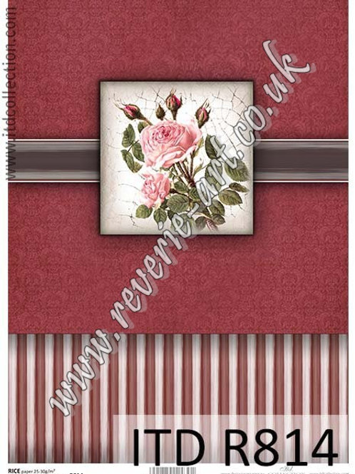 A4 rice paper for decoupage R812 - Vintage box, roses burgundy