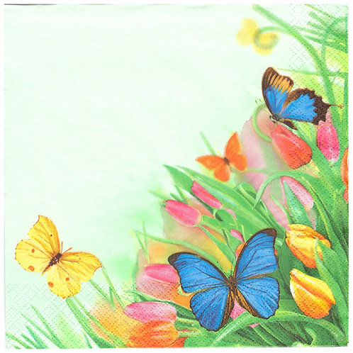 Napkins Lunch size 33x33cm Butterfly and tulips