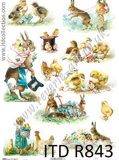 A4 rice paper R843 Vintage Easter