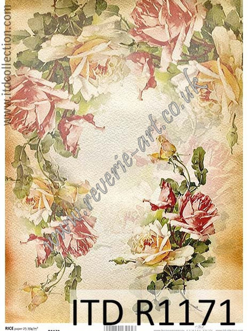 A4 rice paper R1171 Vintage roses