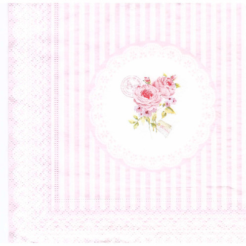 Napkins N1130 Lunch size 33x33cm Flowers roses pink stripes