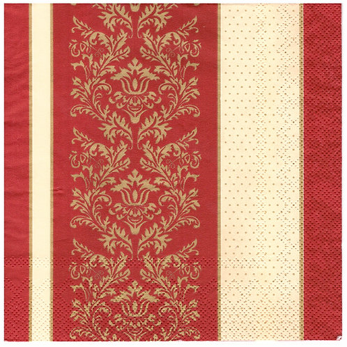 Napkins N1157 Lunch size 33x33cm Red ornate flowers striped pattern