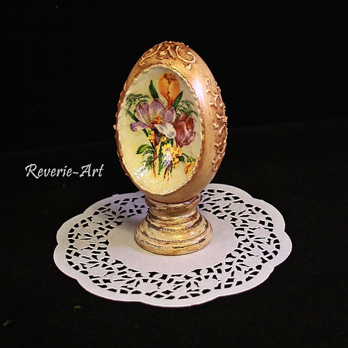 Spring flowers - hand decorated  goose egg with stand