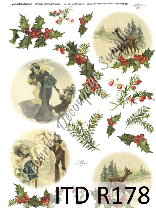 A4 rice paper R178 Victorian Christmas