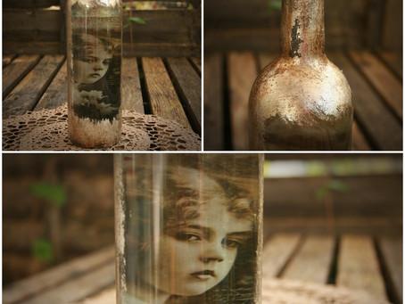 Gilding on glass bottle - tutorial