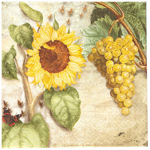 Napkins Lunch size 33x33cm Grapes and sunflower