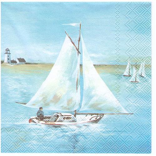 Napkins N1003 Lunch size 33x33cm Sea, yacht, lanscape, seaside