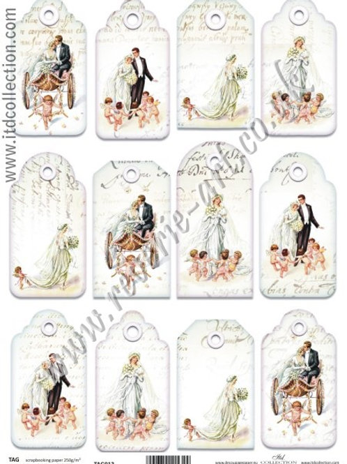 Scrapbooking and craft paper A4 - TAG vintage wedding 012