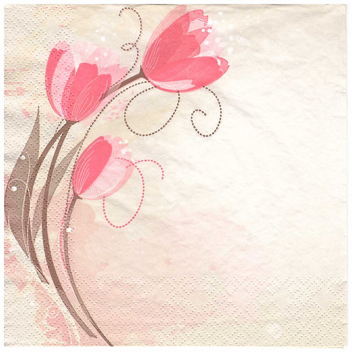Napkins Lunch size 33x33cm Flowers tulips