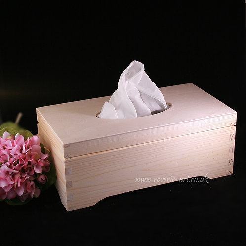 Plain wooden Tissue box - top opened, decorative bottom