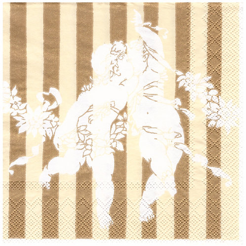 Napkins N1160 Lunch size 33x33cm Gold cherubs stripes pattern