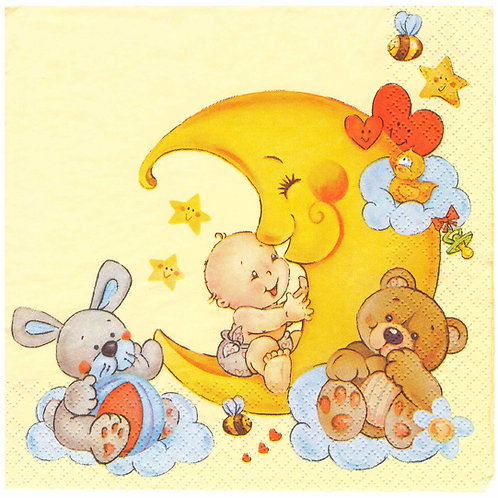 Napkins N1060 Lunch size 33x33cm Moon kids room