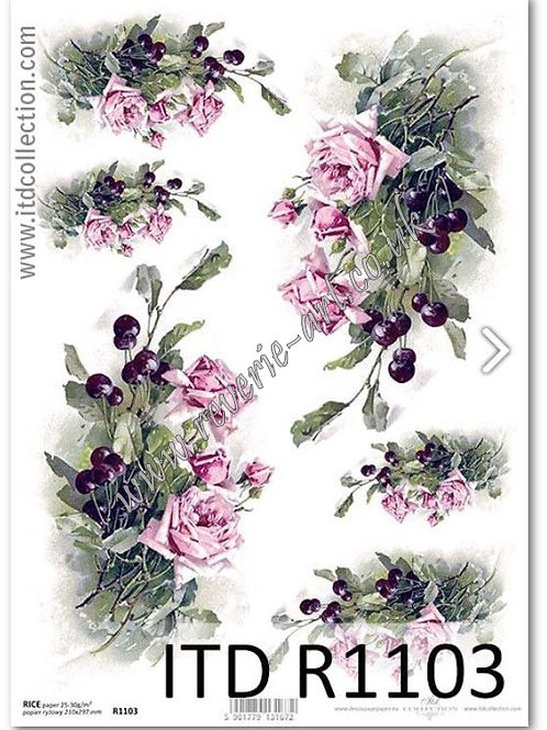 A4 rice paper R1103 Roses and cherries