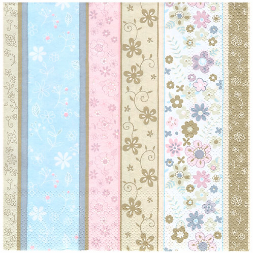 Napkins N1134 Lunch size 33x33cm Floral stripes pastels