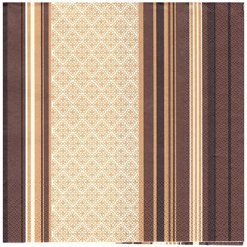 Napkins N1135 Lunch size 33x33cm Stripes brown