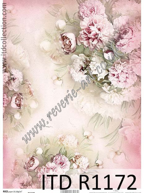 A4 rice paper R1172 Vintage flowers peony