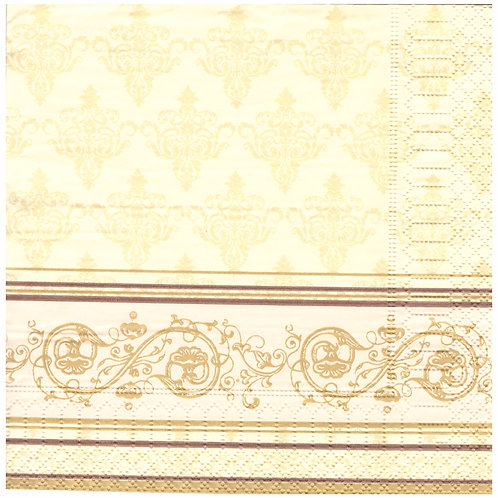 Napkins N1153 Lunch size 33x33cm Cream stripes flowers pattern