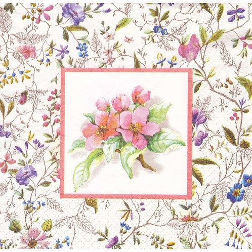 Napkins N1132 Lunch size 33x33cm Flowers apple blossom