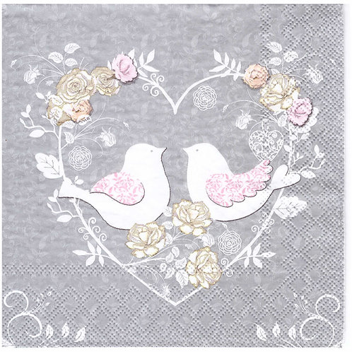 Napkins N988 Lunch size 33x33cm Love birds in flower heart