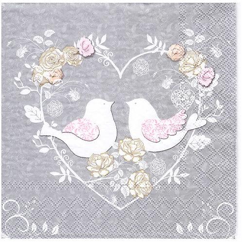 Napkins N988 Lunch size 33x33cm Love birds in flower heart