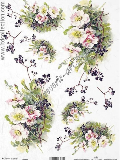 A4 rice paper R1099 Flowers