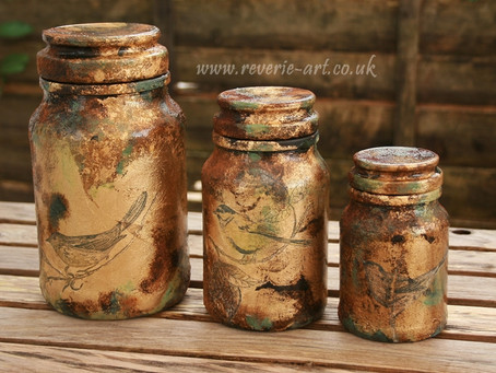 Ornithology - gilding, aging and decoupage on glass tutorial