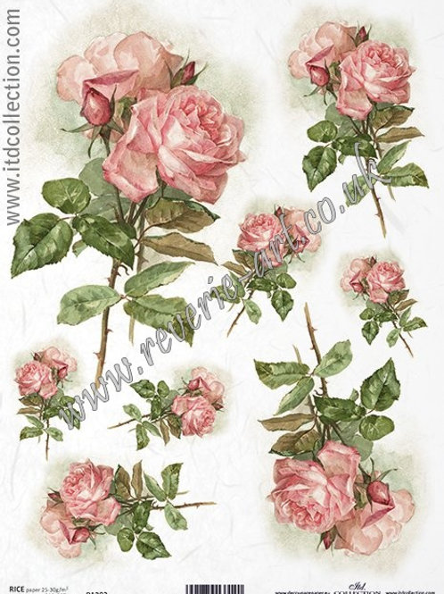 A4 rice paper R1202 Vintage roses