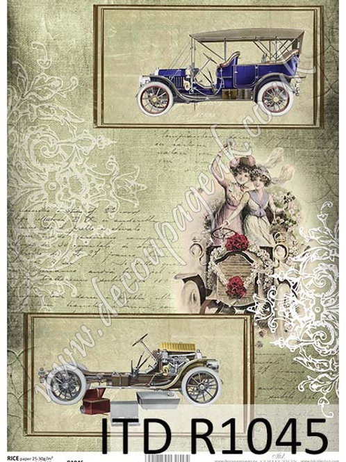 A4 rice paper R1045 Vintage cars