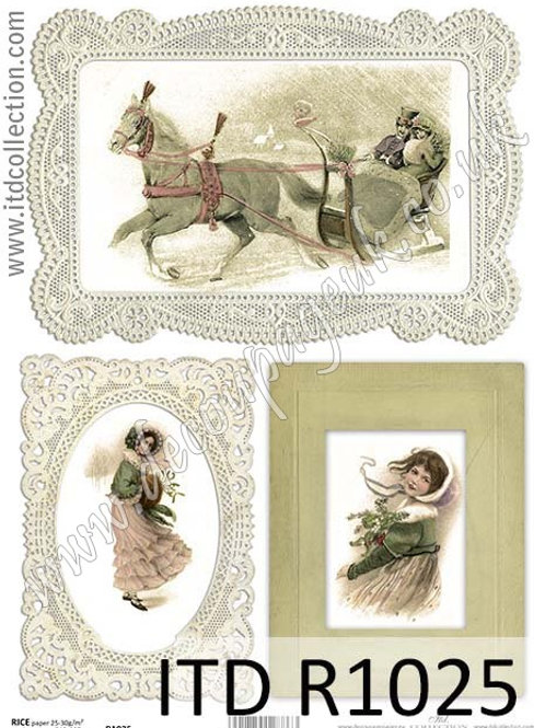 A4 rice paper R1025 Vintage Christmas