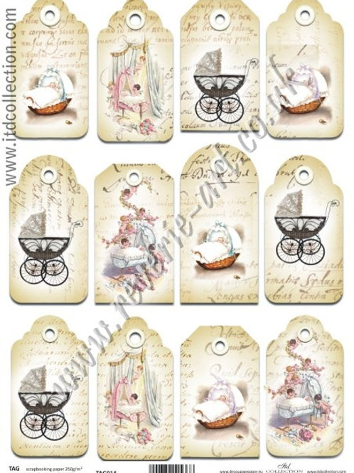 Scrapbooking and craft paper A4 - TAG vintage baby 014